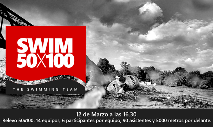 Competición de natación por relevos en el Centro Deportivo SMP de Madrid