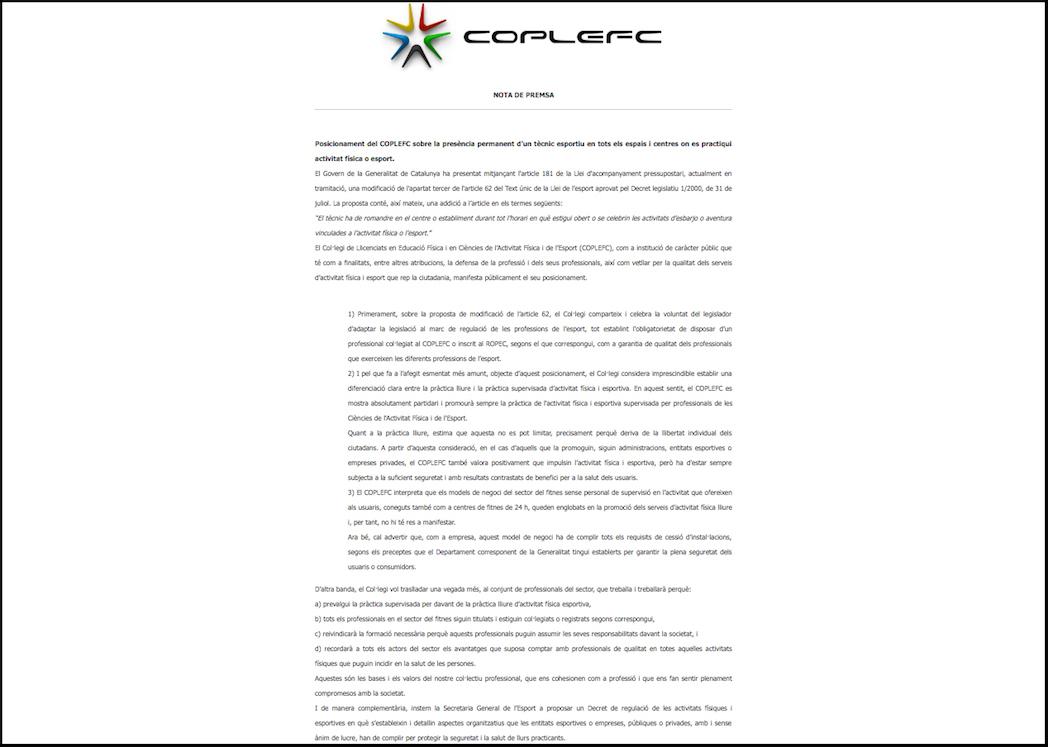 Coplefc también cuestiona la ley contra los 24 horas