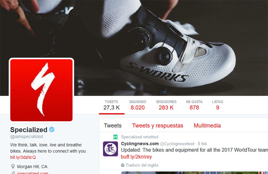 Specialized lidera el ranking de marcas de bicicletas con más seguidores en Twitter