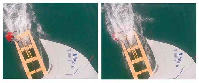 EFECTO DE LA INSUFICIENTE ALTURA LA BANCADA DE POPA SOBRE EL NIVEL DEL MAR. Según Jordi Lamarca, la altura de la bancada de popa sobre la altura del mar provoca que ésta choque con las olas en los largos y que ello constituya un peligro para el patrón. Asimismo, ello frena sustancialmente la velocidad de la embarcación. (FOTOS: Jordi Lamarca).