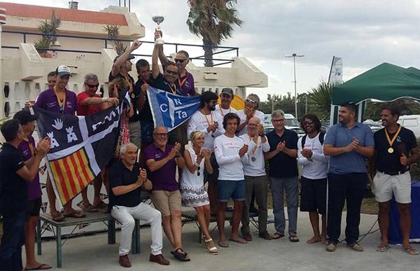 Podio de los tres equipos mejor clasificados en el Campeonato de Cataluña de clubes de patin a vela 2017.
