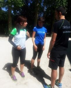 Noelia Rojo, con algunos alumnos de chirunning en Barcelona.