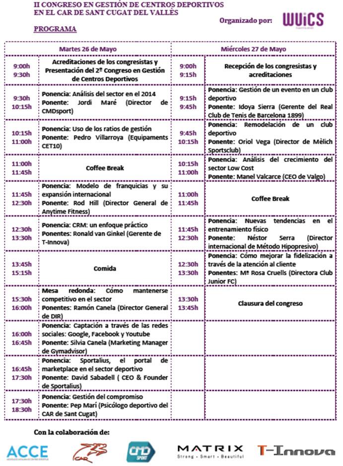 congreso gestión centros deportivos wuics programa