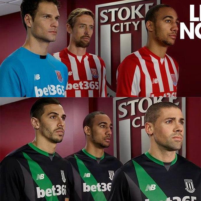 Primera equipación (arriba) y segunda equipación (abajo) del Stoke City diseñadas por New Balance.