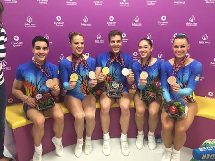 Medallas de oro y bronce en Aerobic para España