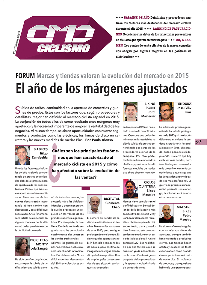 2015, mal año para los márgenes del ciclismo