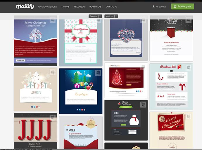 Mailify dispone de una serie de plantillas con motivos navideños para desarrollar la campaña específica para estas fechas.