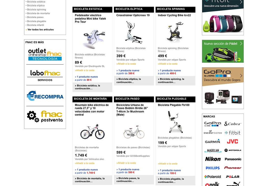Fnac se lanza a la venta de bicicletas en su web