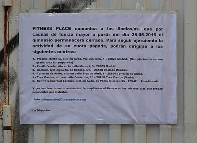 Fitness Place cierra un gimnasio y deja a mil socios sin servicio