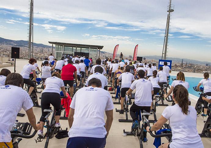 Éxito de participación en el evento de spinning de Precor y Zurich