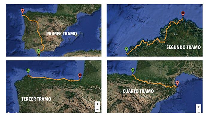 tramos del reto 3600 km solidarios