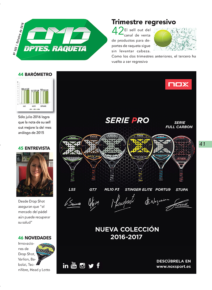 La marca Nox protagoniza la portadilla de la sección Deportes de Raqueta de la revista impresa CMDsport número 382. Varlion tambiñen se anuncia en esta edición.