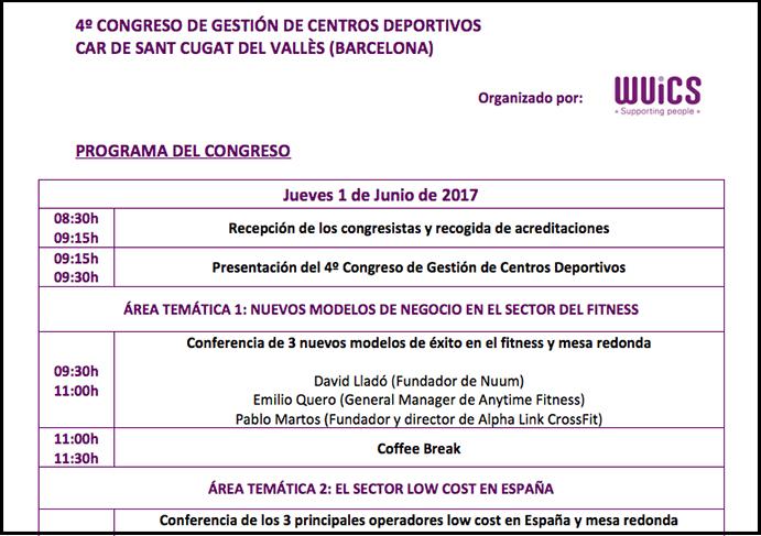 Programa definitivo del 4º Congreso de Gestión de Centros Deportivos