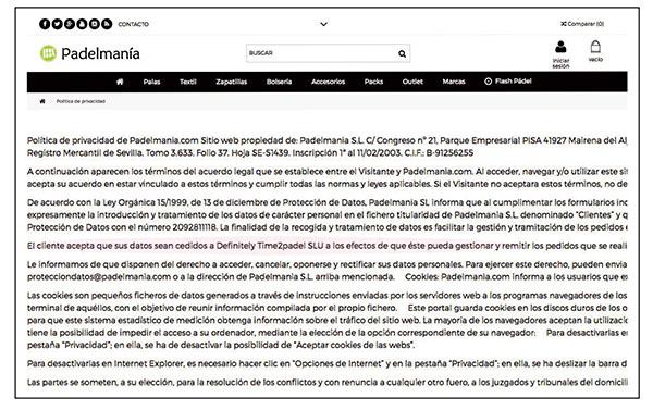 En el apartado de Política de Privacidad de la web de Padelmania se puede comprobar cómo se ha introducido una cláusula en la que se observa que el nuevo interlocutor de los clientes de la web es la empresa Difinitely Time2Padel.
