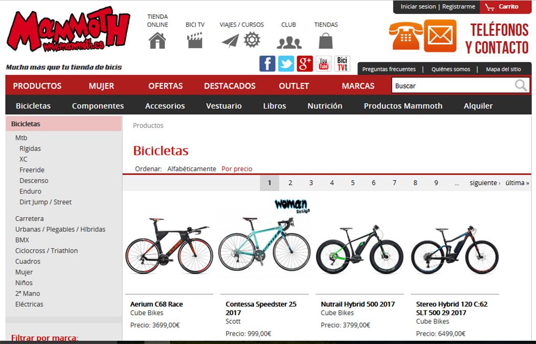 Mammoth escala al tercer puesto de las tiendas online de ciclismo mejor posicionadas
