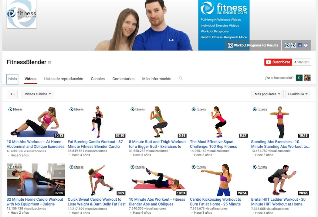 El mayor canal de fitness de Youtube supera los 4 millones de suscriptores
