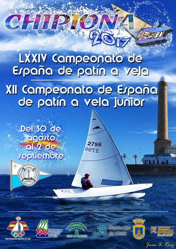 El patrón y capital de la flota de patinistas del CAND Chipiona, Angel Miranda, se ha prestado para protagonizar el cartel alegórico del campeonato de España de patines a vela de este 2017.