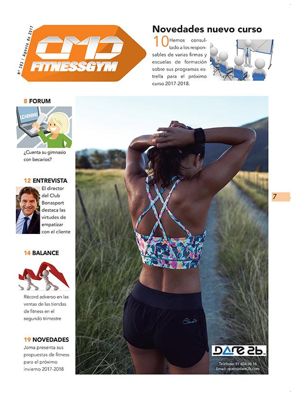 La marca anunciante de la portadilla de la sección Fitnessgym de la revista impresa CMDsport número 393, correspondiente a agosto de 2017, es la enseña Dare2b.