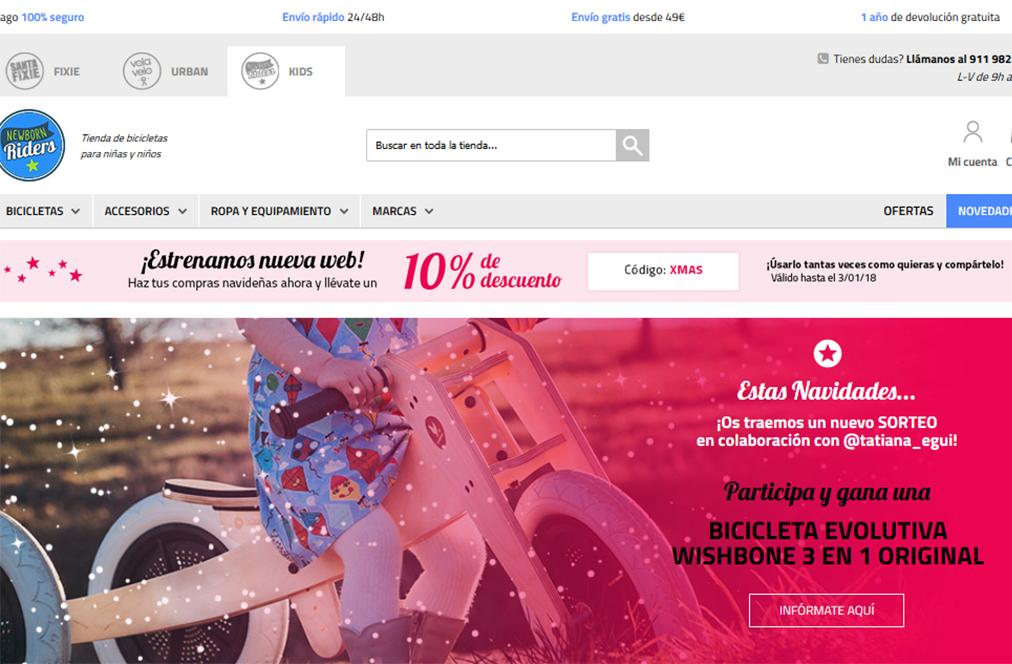La tienda online de bicis infantiles NewBornRiders estrena página web
