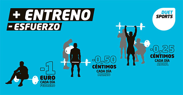 Duet Sports descontará euros por cada día que se acuda al gimnasio