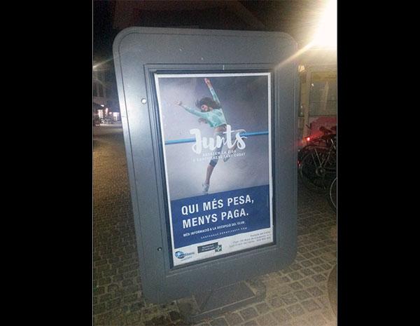 El gimnasio Eurofitness Sant Cugat, instado a retirar su última publicidad