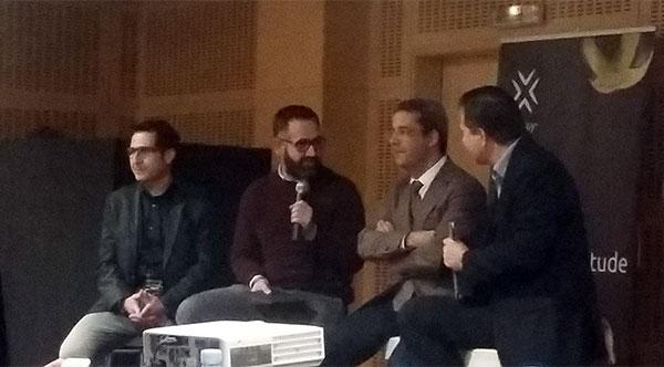 Mesa redonda formada por Ferran Bosque (Soho Fit), Gabriel Domingo (Claror) y Joanra Mallart (IBM), moderada por Jorge Rosales de MAS.
