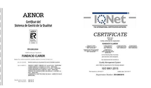 Clubs Claror obtiene la certificación ISO 9001