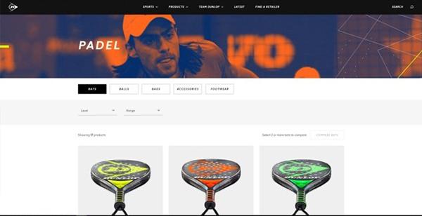 Dunlop Sports introduce el pádel en su nueva página web internacional