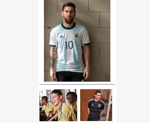 Adidas presenta las camisetas de Argentina, Colombia y México para la Copa América