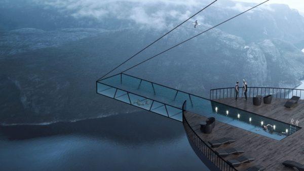 Nadar en una piscina colgante a más de 600 metros de altura