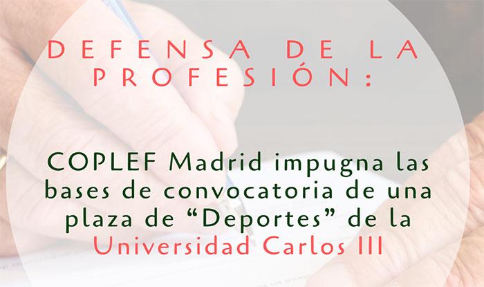 Coplef Madrid impugna las bases de convocatoria de una plaza pública de Deportes