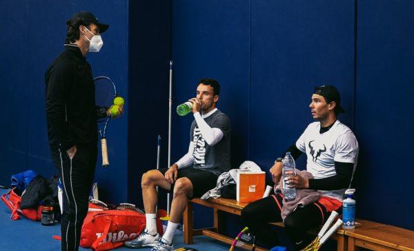 Roberto Bautista y Rafa Nadal entrenan juntos para preparar la ATP CUP