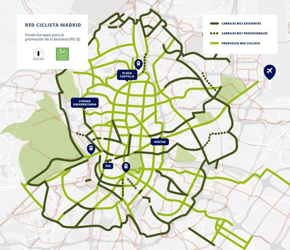 Proponen la creación de una red ciclista en Madrid con los fondos europeos