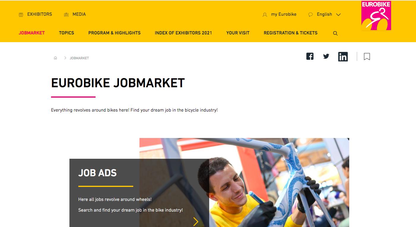 La web de Eurobike estrena una sección con ofertas de trabajo